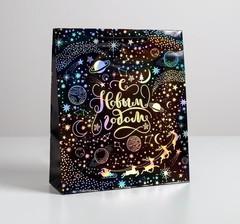 Пакет голографический вертикальный «Волшебства в Новом году», M 26 x 30 × 9 см, 1 шт.