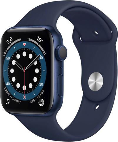 Умные часы Apple Watch Series 6, 44 мм, корпус из алюминия синего цвета, спортивный ремешок