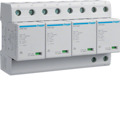 Комбинированный разрядник защиты от перенапряжения, 4пол., 6M, класс 1+2 или B,, 100kA TNS, с индикацией, сменными картриджами