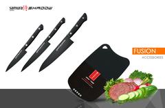 Набор из 3 ножей Samura SHADOW и разделочной доски Samura Fusion