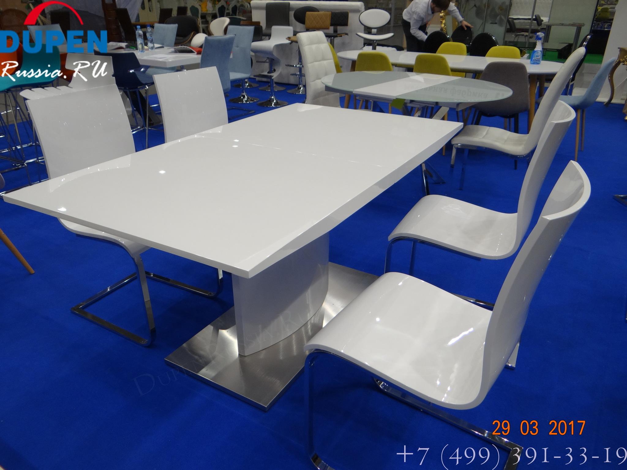 Обеденный стол DUPEN (Дюпен) DT-01 белый и стулья DUPEN CH-1003 белые
