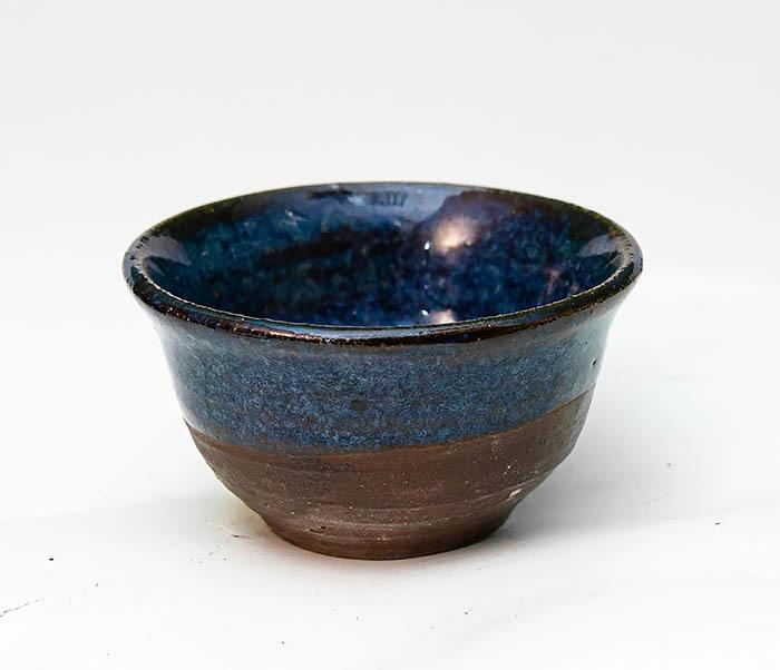 CUP111 Керамическая пиала ручной работы с глазурью синего цвета фото 02