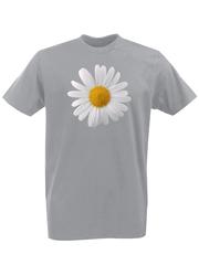 Футболка с принтом Цветы (Ромашки) серая 002