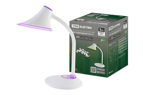 Светильник светодиодный настольный СН-12, 5 Вт, гибкий, выключатель, 5500 К, фиолетовый, 220 В, TDM