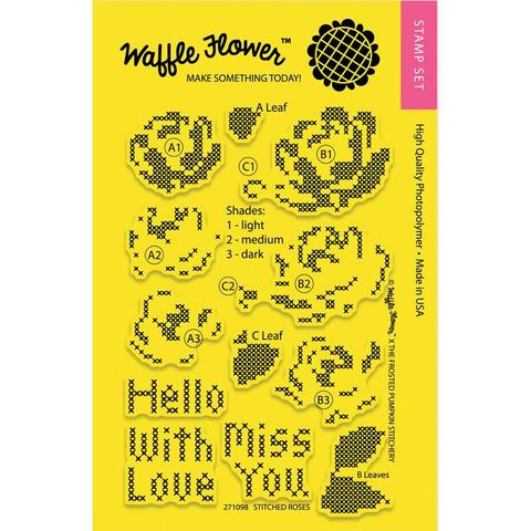 Набор штампов Waffle Flower Crafts Clear Stamps 10х15см  - Stitched Roses