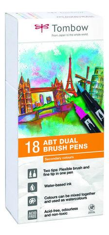 Набор маркеров Tombow ABT Dual brush pens, основные цвета-2, 18 цветов.