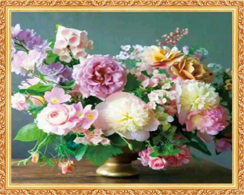 Алмазная Мозаика 40x50 Розовые цветы в золотой вазе