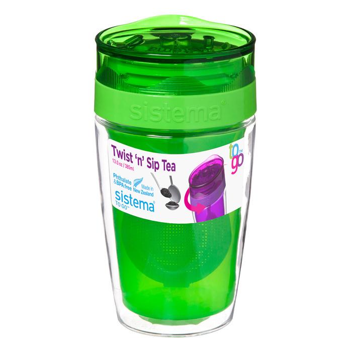 Термокружка для чая Sistema 370 мл, цвет Зеленый