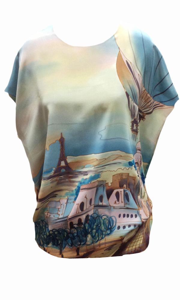 Шелковая блузка батик Дневной Париж П-182
