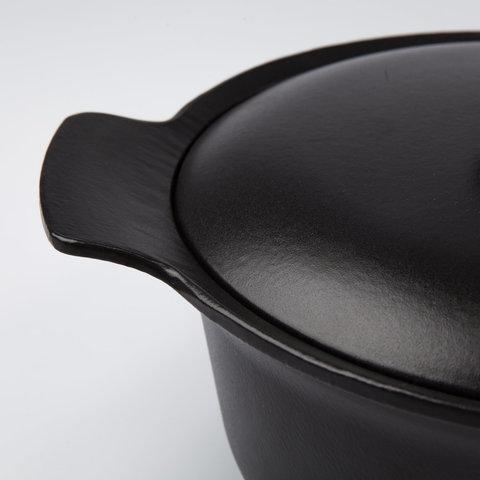 Кастрюля чугунная овальная с крышкой 22*28см 5,2л (черная) Ron