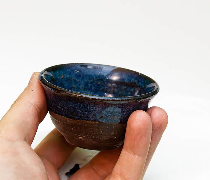 CUP111 Керамическая пиала ручной работы с глазурью синего цвета фото 06