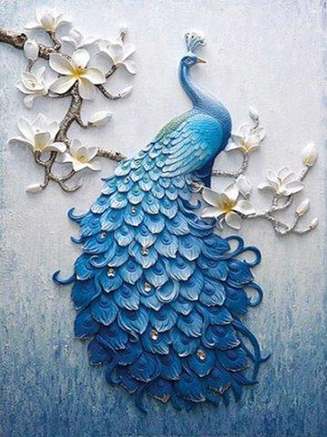 Алмазная Мозаика 5D 40x50 Павлин на цветущей ветке