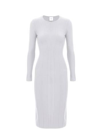 Женское платье светло-серого цвета из шерсти - фото 1