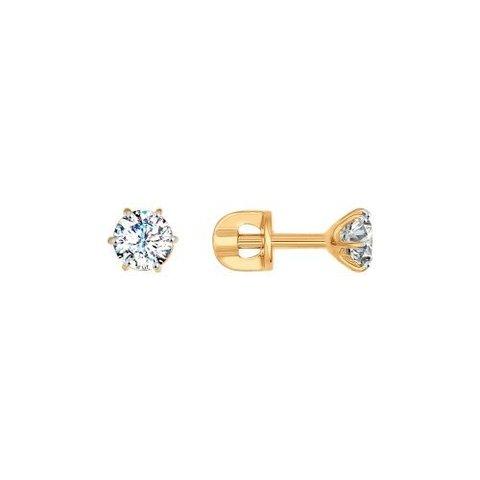 026933- Серьги-пусеты из золота с фианитами