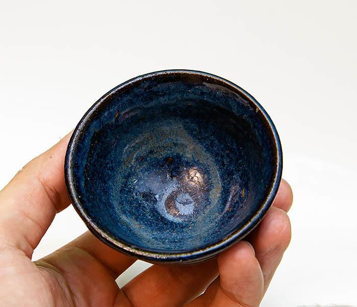 CUP111 Керамическая пиала ручной работы с глазурью синего цвета фото 07