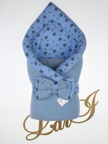 Велюровый демисезонный конверт на выписку из роддома Звездопад (голубой меланж)