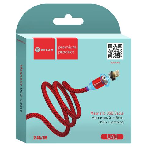 Магнитный кабель красного цвета для зарядки телефона с разъемом Lighthing, 1 метр