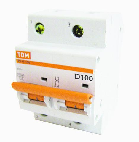 Авт. выкл. ВА47-100 2Р 100А 10кА х-ка D TDM