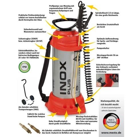 MESTO распылитель INOX PLUS 3595Р, 6л, нержавеющая сталь