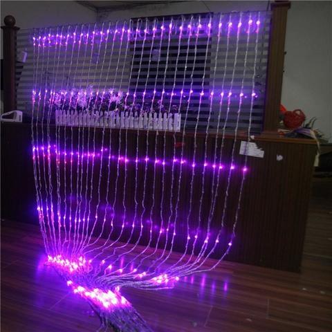 LED водопад гирлянда 3 на 3 метра фиолетовый цвет