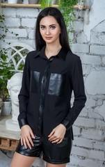 Шейла. Стильная молодежная рубашка с эко-кожей. Черный