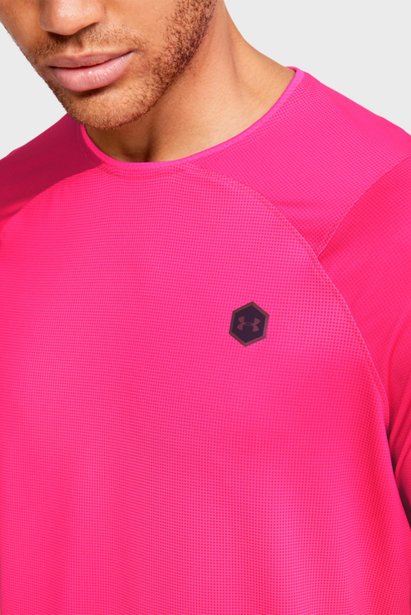Мужская розовая спортивная футболка UA HG Rush Fitted SS Printed Under Armour
