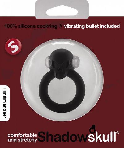 Чёрное виброкольцо Shadow Skull Cockring с черепом