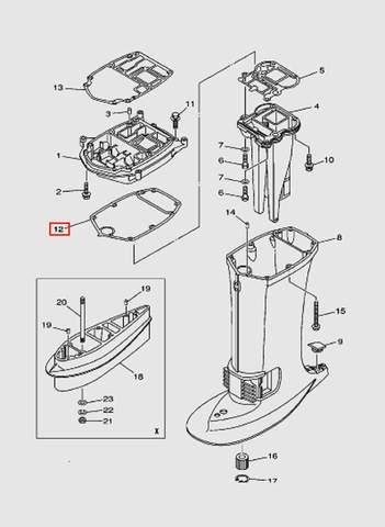 Прокладка дейдвуда для лодочного мотора T40 Sea-PRO (22-12)
