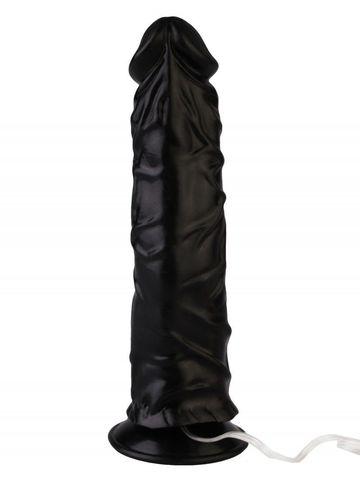 Черный реалистичный вибромассажер №9 с проводным пультом - 19,5 см.