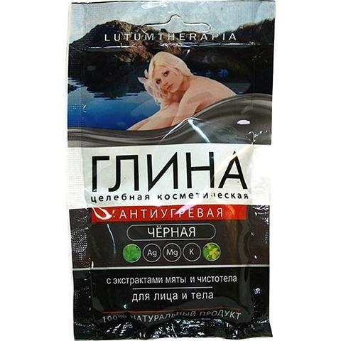 Глина черная косметическая антиугревая с экстрактом мяты и чистотела, 60
