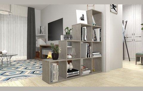 Стеллаж Polini Home Smart Каскадный 10 секций, бетон