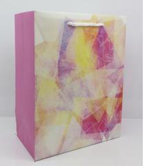 Пакет подарочный с матовой ламинацией и глиттером Красочная абстракция 18х23х10 см (M) .