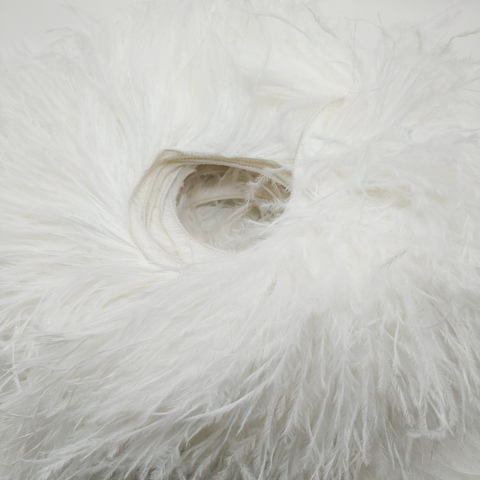 Премиум Тесьма  из перьев страуса на нитке в 2 слоя h 10-15 см., белый (10 метров)