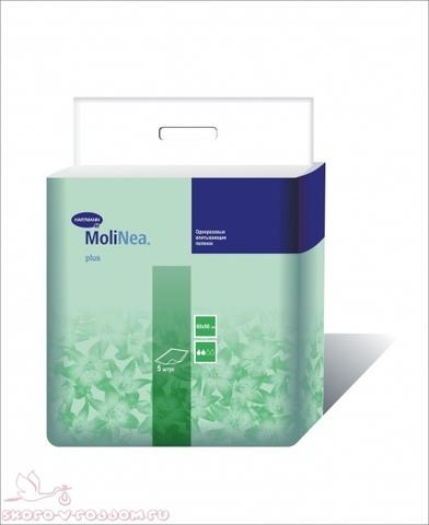 Hartmann. Пеленки впитывающие MoliNea Plus 60х90 см, 1уп/5шт. Фото 1