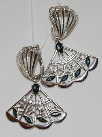 Веер с лондон топазом(серьги из серебра).