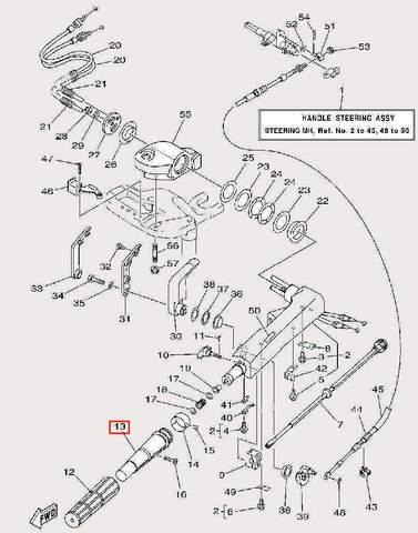 Втулка ручки газа внутренняя для лодочного мотора F9,9 Sea-PRO (17-13)