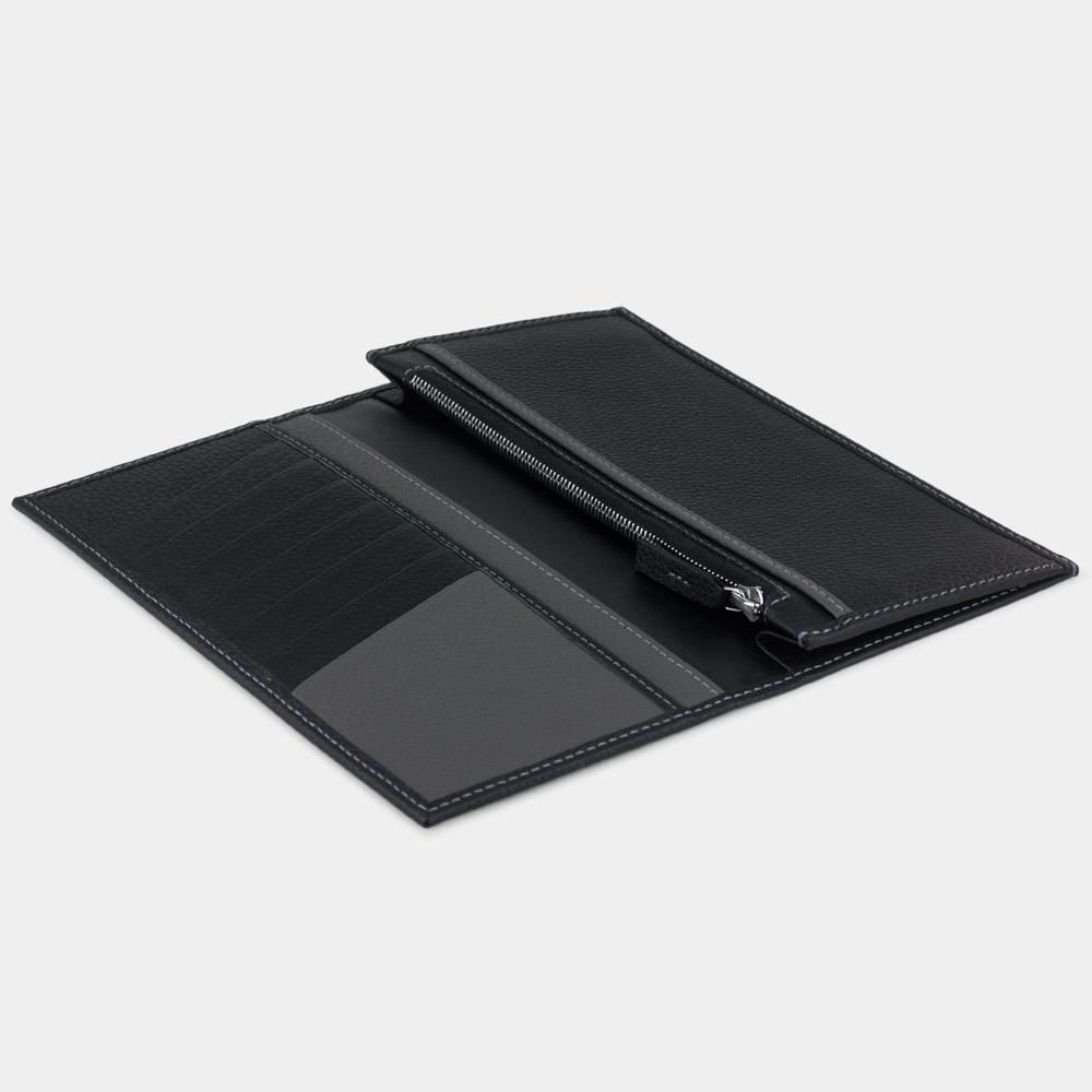 Длинный кошелек Eclair Bicolor из натуральной кожи теленка, цвета черный мат