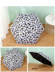 Яркий маленький зонт с защитой от УФ, 6 спиц, Япония, с принтом- руки Микки-Мауса (черный)