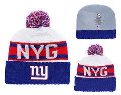 Шапка вязаная с помпоном и с логотипом НФЛ Нью-Йорк Джайентс (NFL  New York Giants) 02