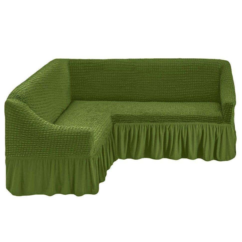 Чехол на угловой диван, изумруд