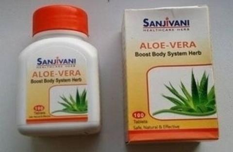 Алоэ-Вера, 100 таб, Sanjivani 500 мг (Индия)