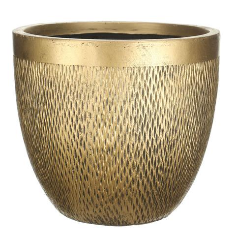 MESHR37-GLD Кашпо Лотус Круглое, файберстоун, золото, D37 H33.5 cm