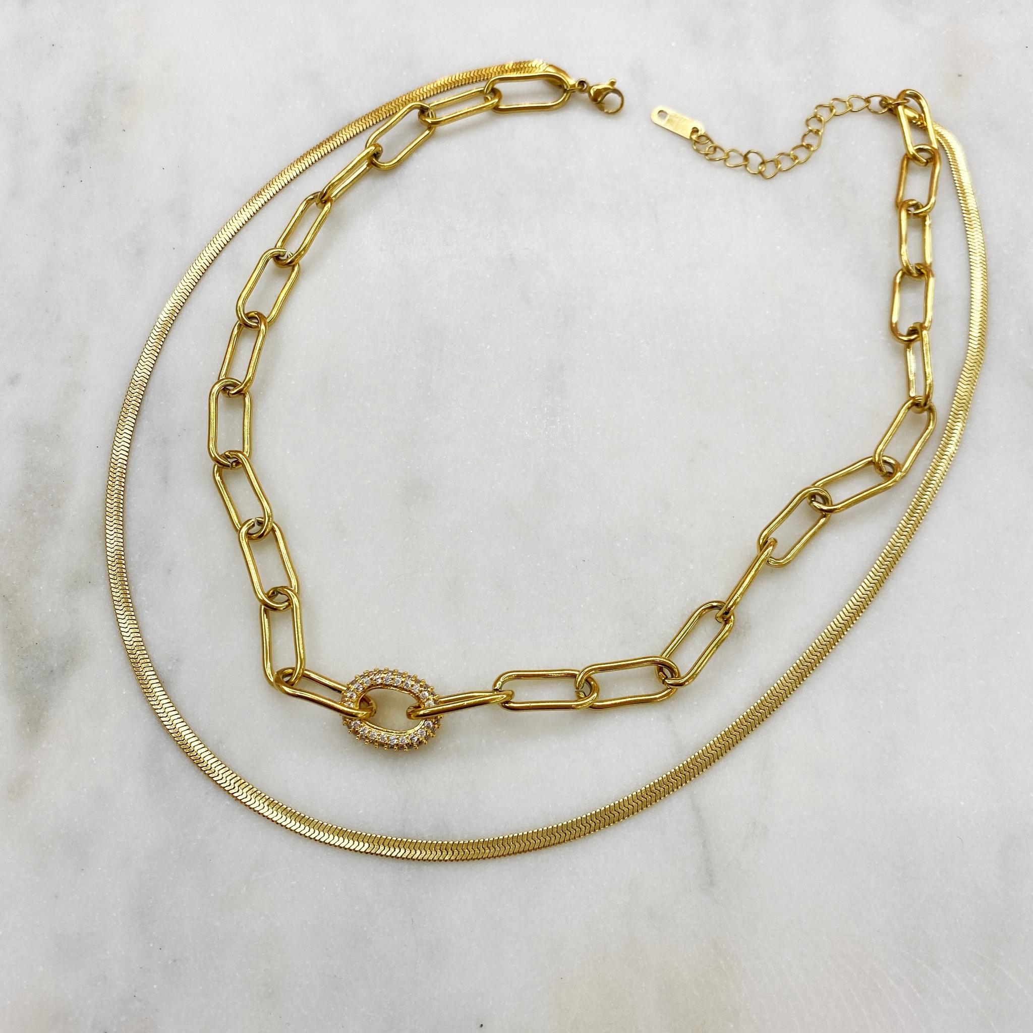 Колье двойное цепь и колье-снэйк, сталь (золотистый)