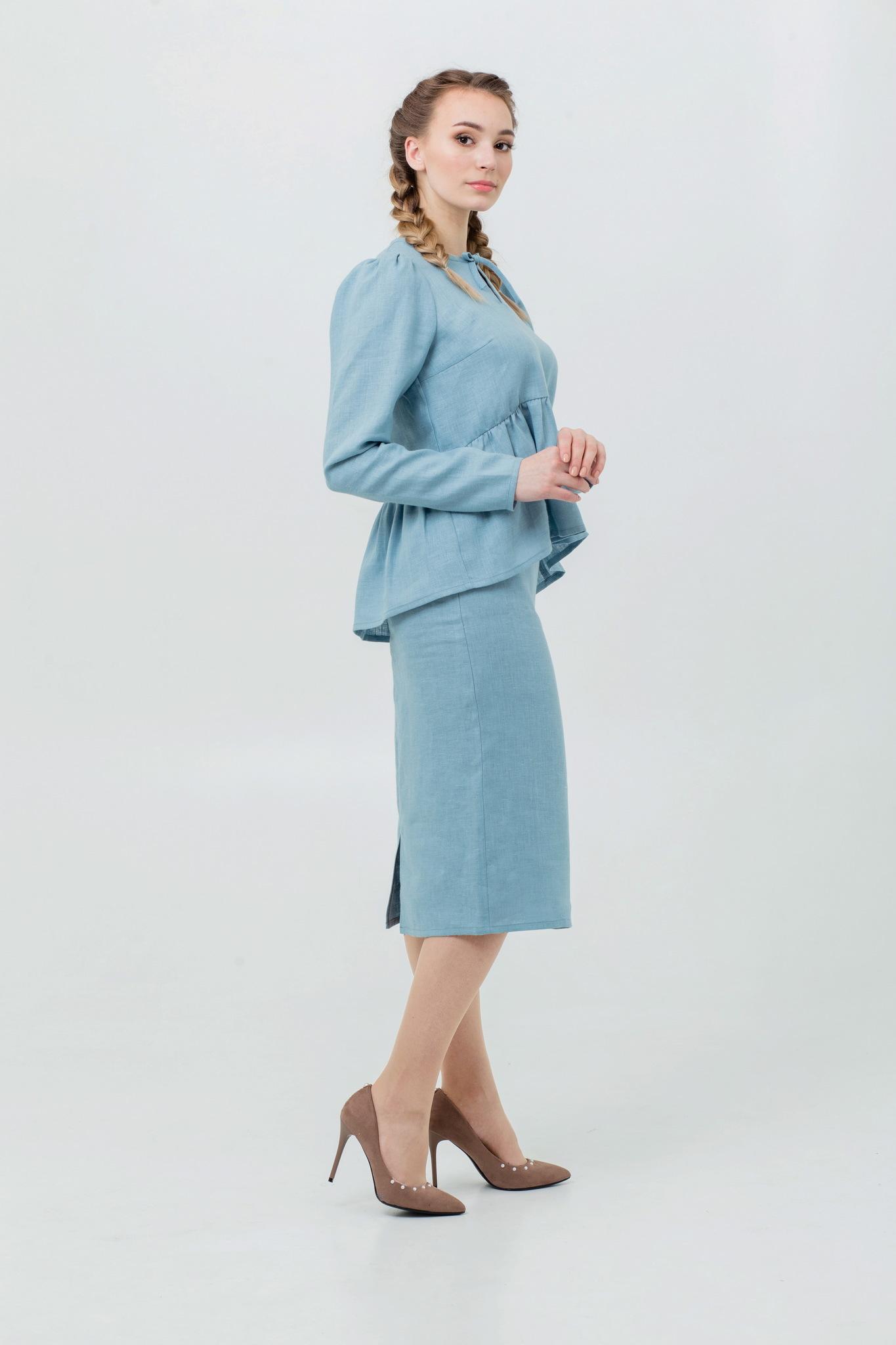 Юбка и блуза из льна в русском стиле