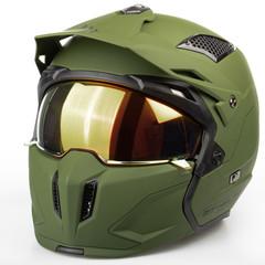 Мотошлем с маской MT Streetfighter, зелёный матовый