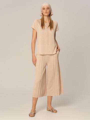 Женские брюки бежевого цвета из вискозы - фото 2