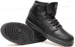 Зимние мужские кроссовки ботинки на толстой подошве Nike Air Jordan 1 Retro High Winter BV3802-945 All Black