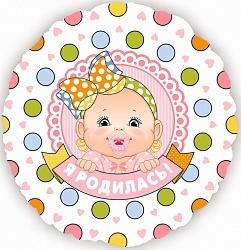 Фольгированный шар Поздравляем Я родилась (девочка) 18