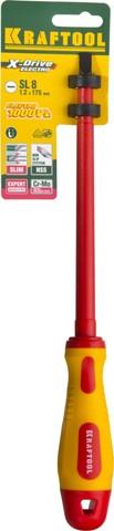 Отвертка KRAFTOOL, высоковольтная, Cr-Mo-V стержень, двухкомпонент. маслобензостойкая рукоятка, SL, 8,0х175мм