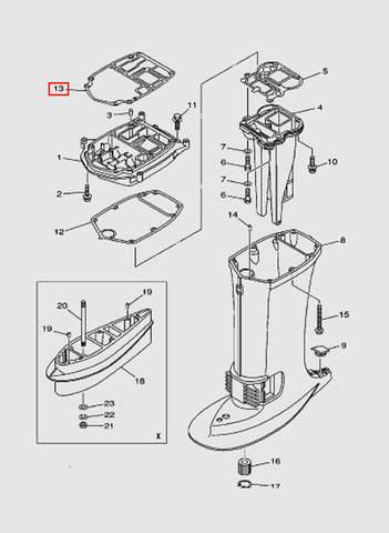 Прокладка дейдвуда для лодочного мотора T40 Sea-PRO (22-13)